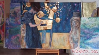 Interprétation grand format d'un petit pastel de Gustav Klimt