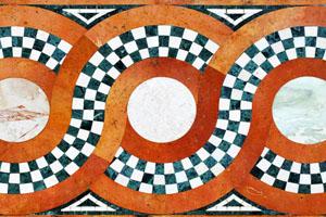 Frises anciennes et éléments de décoration en marqueterie de pierres dures
