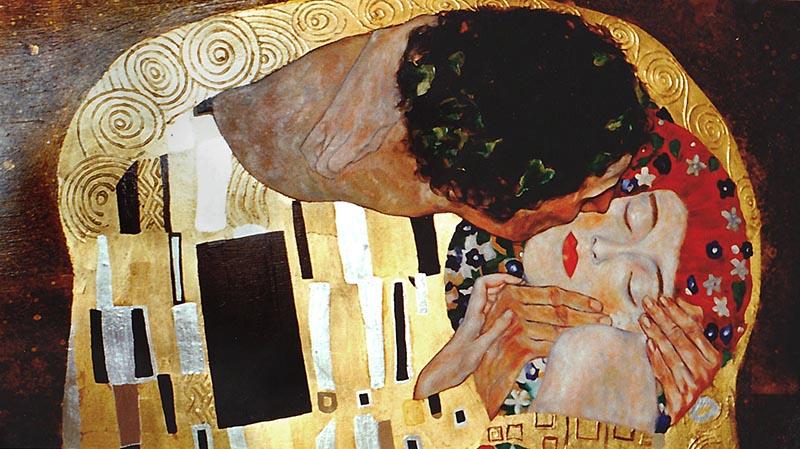 Le baiser, copie d'un tableau de Gustav Klimpt par Francesca Bernie