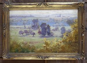 Paysage signé d'Edouard Pail. Huile sur panneau du début du XX ème siècle.