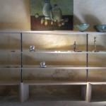 étagères années '40 en bois de chêne clair et metal