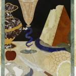 """table basse """"desserts"""". Ce décor est tiré de la decoration parietale d'une des chappelles des Médicis. le détail, agrandi plus que nature, assume des air de modernité et d'audace"""
