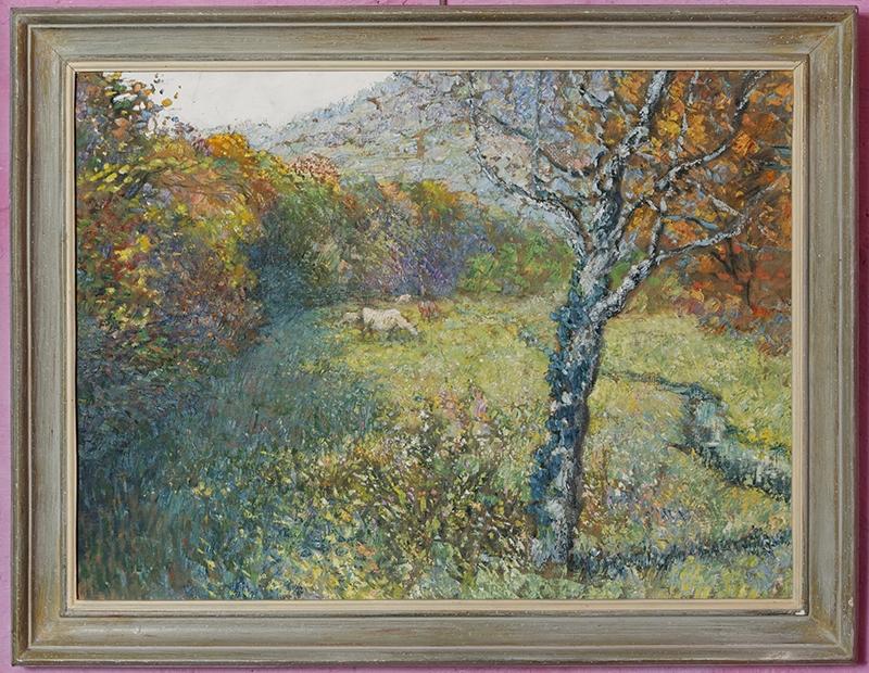 paysage, huile sur toile. Attribuable à Fernand Maillaud, representant une scène champêtre