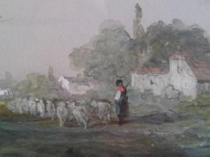 gouache sur papier du peintre belge operant à partir de la seconde moitié du XIXe siècel. détail avec le berger