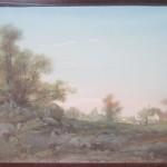 Gouache d'Henry Langerock, peintre belge du XIXe siècle. Un paysage bucolique de la campagne auvergnate, avec un vue de village à l'horisont