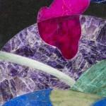plateau en marqueterie de pierres dures au motif de style contemporain. améthiste, onyx teinté, jade vert, lapis-lazuli