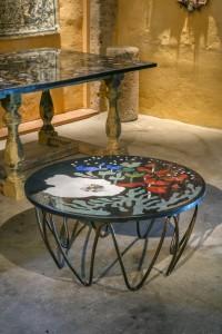 """table basse """"Submarina"""" Décor contemporain, création de Samarkande. piétement """"méduse"""" assorti, en fer rond."""