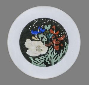 """Tables """"Submarina"""". Décor contemporain, création de Samarkande avec jaspe rouge, lapis-lazuli, gar et nacre"""