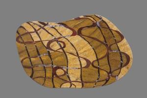 table en marqueterie de pierres dure: jaspe rouge, travertin, ajouba, lemento, améthyste