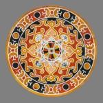 """Table """"Ellena"""". Table ronde, décor tiré d'un modèle ancien"""