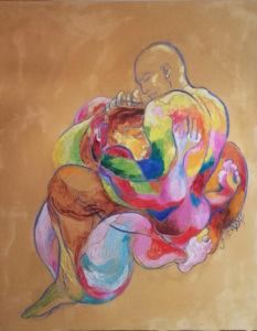 """""""Enlacement"""" huile sur papier marouflé sur toile 155 x110 cm"""